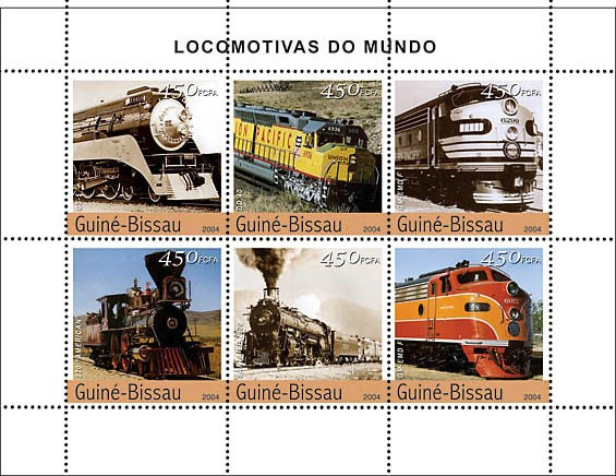 Steam Trains (American) 6 x 450 F - Issue of Guinée-Bissau postage stamps