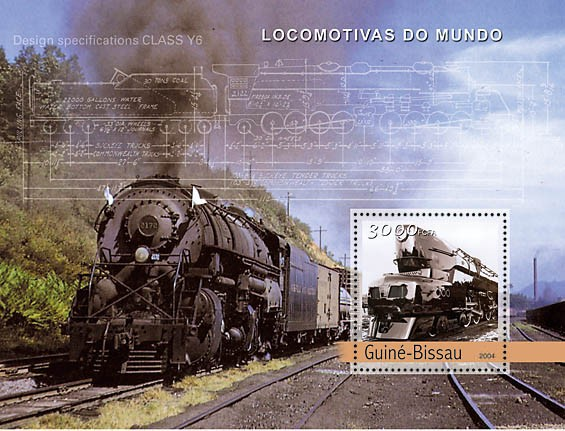 Steam Trains (American) 3000 F - Issue of Guinée-Bissau postage stamps