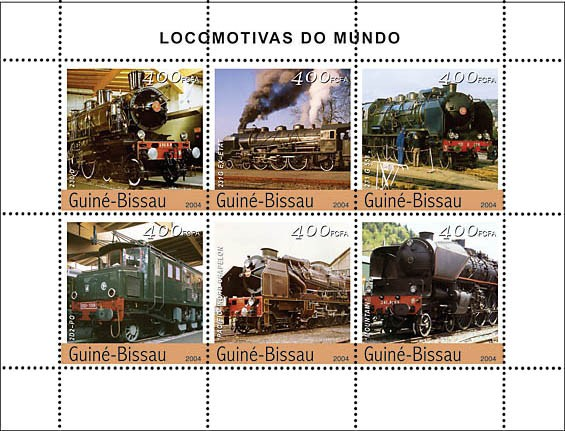Steam Trains (French) 6 x 400 F - Issue of Guinée-Bissau postage stamps
