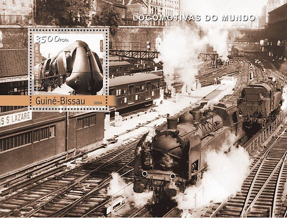 Steam Trains (French) 3500 F - Issue of Guinée-Bissau postage stamps