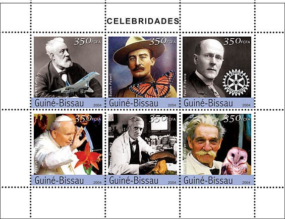 Celebrities (Verne & Concorde, Powell & butterfly, Harris & Rotary, Pope & orchid, Fleming & mushroom, Schweitzer & owl) 6 x 350 F - Issue of Guinée-Bissau postage stamps