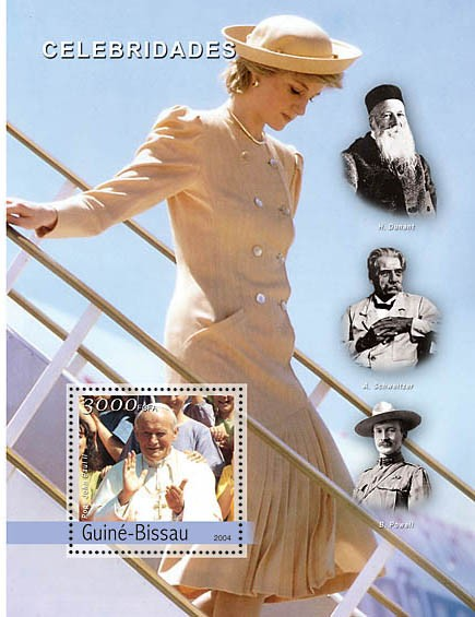 Celebrities (Pope, Diana, Dunant, Schweitzer, Powell) 3000 F - Issue of Guinée-Bissau postage stamps