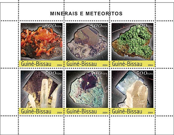 Minerals & Meteorites 6 x 500 F - Issue of Guinée-Bissau postage stamps