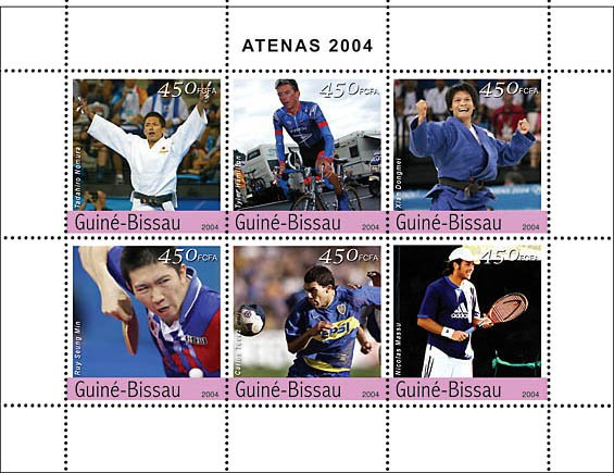 Champions of Athens 2004 6 x 450 F - Issue of Guinée-Bissau postage stamps
