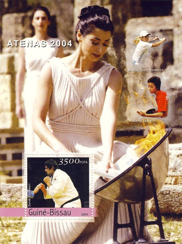 Champions of Athens 2004 3500 F - Issue of Guinée-Bissau postage stamps