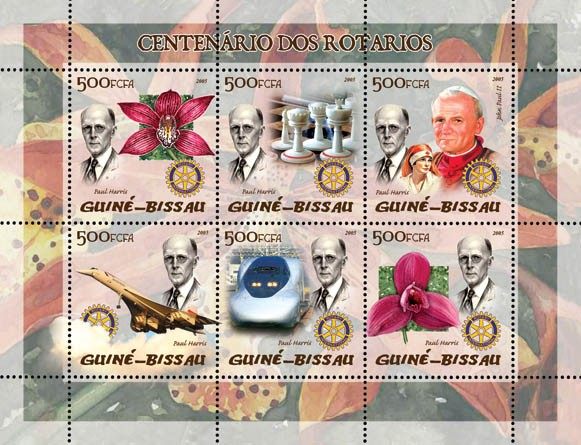 100th Anniversary Rotary (also Pope, Concorde, chess, train, orchids) 6v x 500 - Issue of Guinée-Bissau postage stamps