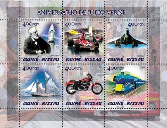 Jules Verne (also space, Ferrari, Concorde, train, sail ship, motorcycle) 6v x 400 - Issue of Guinée-Bissau postage stamps