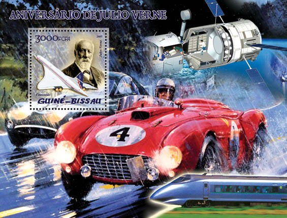 Jules Verne (also space, Ferrari, train, Concorde) S/s 3000 - Issue of Guinée-Bissau postage stamps