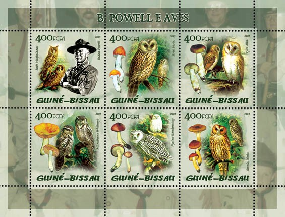 B. Powell (Scouts) & Birds (Owls), also mushrooms 6v x 400 - Issue of Guinée-Bissau postage stamps