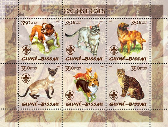 Cats & Dogs (also logo of Scouts) 6v x 350 - Issue of Guinée-Bissau postage stamps