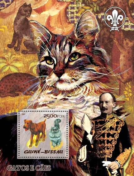 Cats & Dogs (also logo of Scouts & B. Powell) S/s 2500 - Issue of Guinée-Bissau postage stamps
