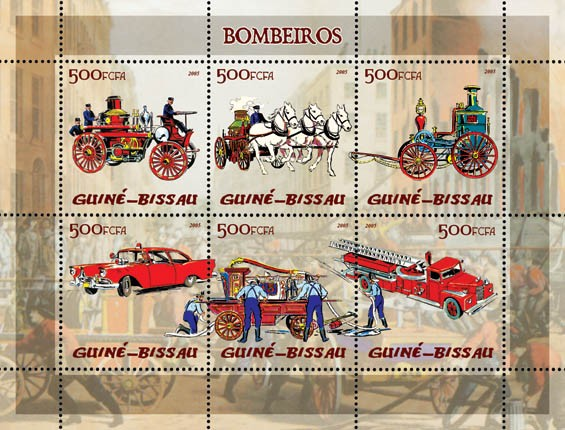 Fire Engines 6v x 500 - Issue of Guinée-Bissau postage stamps