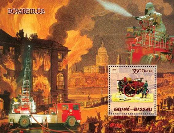 Fire Engines S/s 3500 - Issue of Guinée-Bissau postage stamps