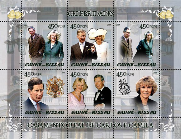 Celebrities: Royal Wedding of Charles & Camilla 6v x 450 - Issue of Guinée-Bissau postage stamps