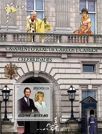 Celebrities: Royal Wedding of Charles & Camilla (also late Princess Diana & Pope) S/s 2500 - Issue of Guinée-Bissau postage stamps