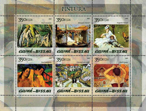 Paintings (Impressionists) 6v x 350 - Issue of Guinée-Bissau postage stamps