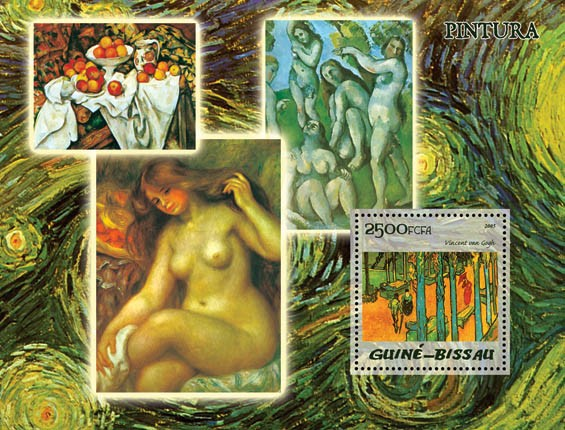 Paintings (Impressionists) S/s 2500 - Issue of Guinée-Bissau postage stamps