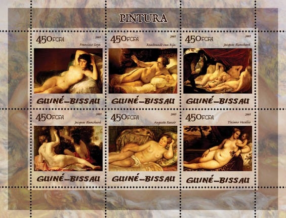 Paintings (Nudes) 6v x 450 - Issue of Guinée-Bissau postage stamps
