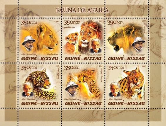 Fauna of Africa (wild cats), also A. Schweitzer 6v x 350 - Issue of Guinée-Bissau postage stamps