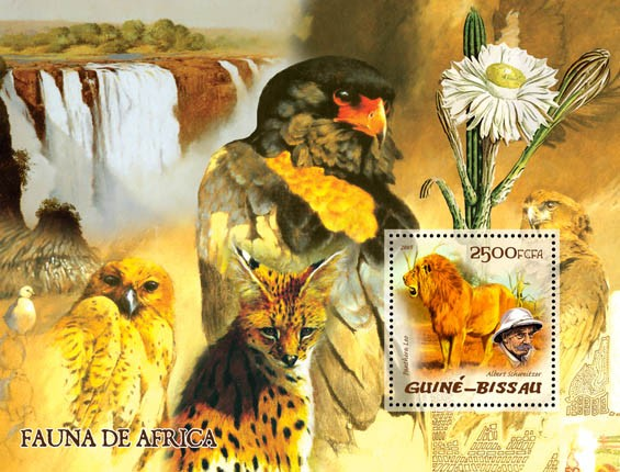 Fauna of Africa (wild cats & birds of prey), also A. Schweitzer & cactus S/s 2500 - Issue of Guinée-Bissau postage stamps