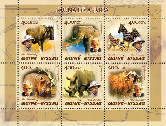 Fauna of Africa (elephants etc.), also A. Schweitzer 6v x 400 - Issue of Guinée-Bissau postage stamps