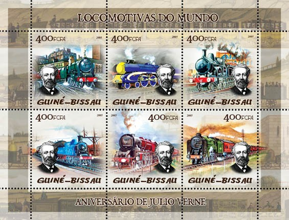 Trains (steam trains) & Anniversary Jules Verne 6v x 400 - Issue of Guinée-Bissau postage stamps