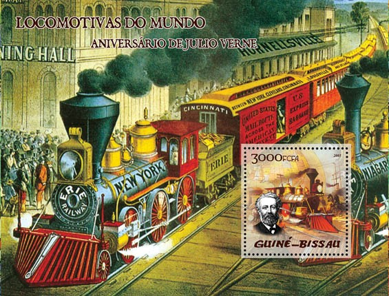Trains (steam trains) & Anniversary Jules Verne S/s 3000 - Issue of Guinée-Bissau postage stamps
