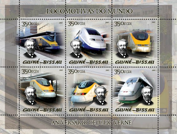 Trains (Eurostar, etc) & Anniversary Jules Verne 6v x 350 - Issue of Guinée-Bissau postage stamps