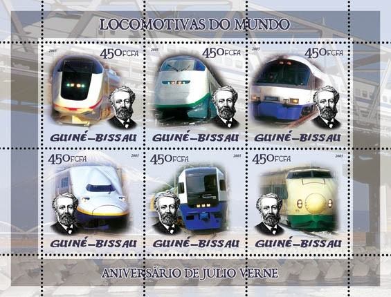 Trains (Japanese trains) & Anniversary Jules Verne 6v x 450 - Issue of Guinée-Bissau postage stamps
