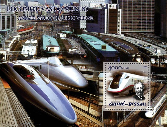 Trains (Japanese trains) & Anniversary Jules Verne S/s 4000 - Issue of Guinée-Bissau postage stamps