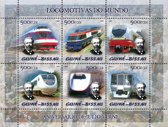 Trains (Japanese trains) & Anniversary Jules Verne 6v x 500 - Issue of Guinée-Bissau postage stamps