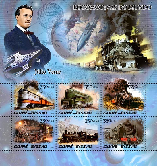 Steam trains & Jules Verne 6v x 350 - Issue of Guinée-Bissau postage stamps