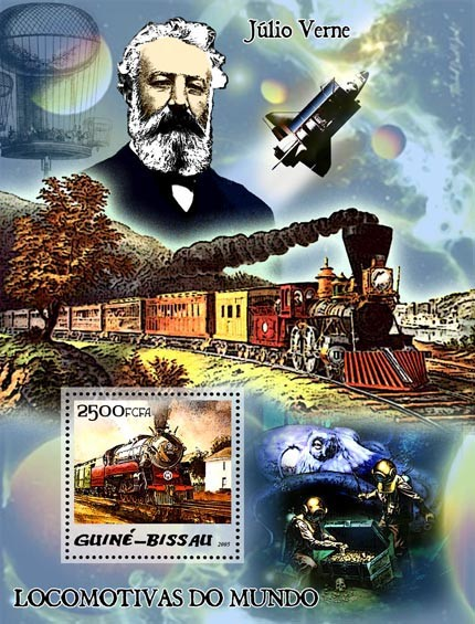 Steam trains & Jules Verne S/s 2500 - Issue of Guinée-Bissau postage stamps