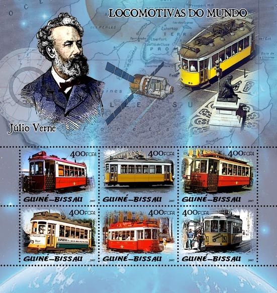 Trams & Jules Verne 6v x 400 - Issue of Guinée-Bissau postage stamps