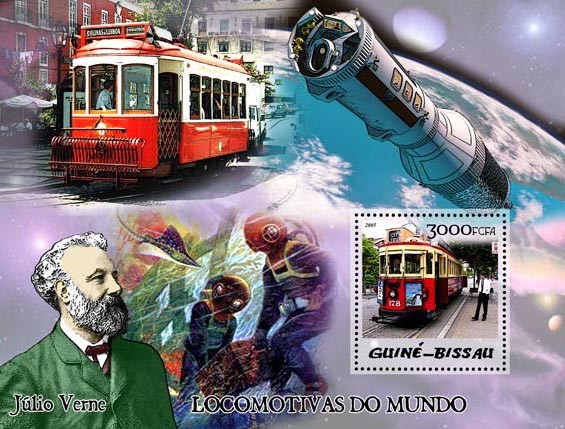 Trams & Jules Verne S/s 3000 - Issue of Guinée-Bissau postage stamps
