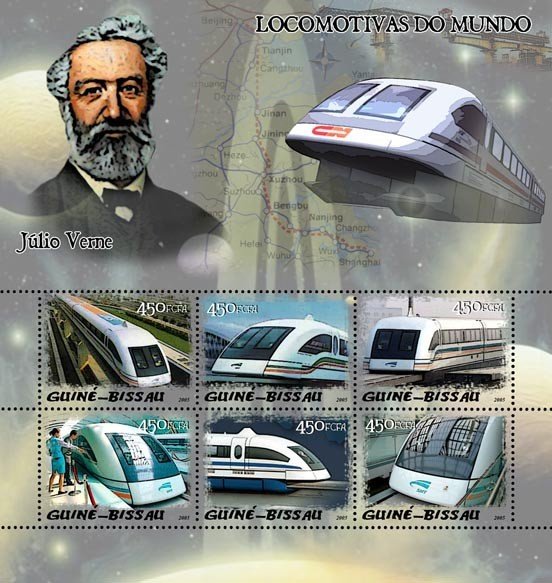 Maglev trains & Jules Verne 6v x 450 - Issue of Guinée-Bissau postage stamps