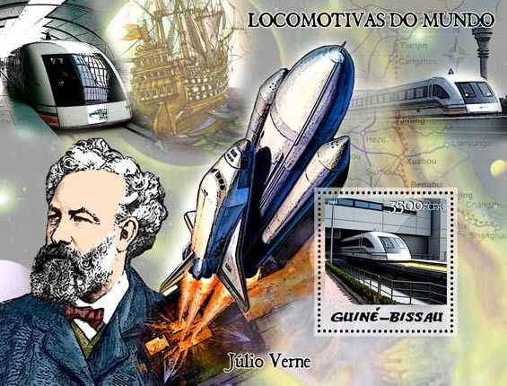 Maglev trains & Jules Verne S/s 3500 - Issue of Guinée-Bissau postage stamps