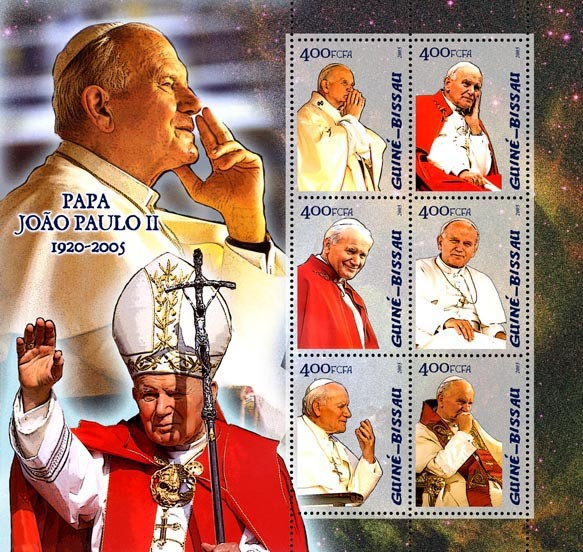 Pope John Paul II 6v x 400 - Issue of Guinée-Bissau postage stamps