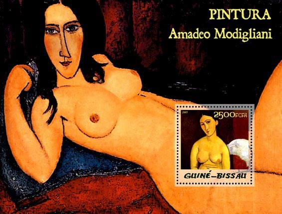Paintings of Modigliani S/s 2500 - Issue of Guinée-Bissau postage stamps