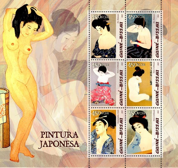 Japanese paintings 6v x 450 - Issue of Guinée-Bissau postage stamps