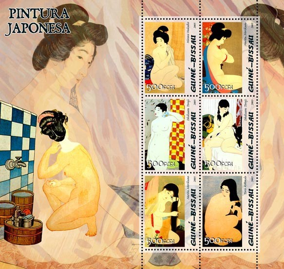 Japanese paintings 6v x 500 - Issue of Guinée-Bissau postage stamps