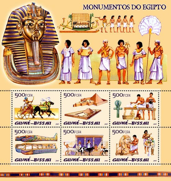 Monuments of Egypt (pyramids, etc) 6v x 500 - Issue of Guinée-Bissau postage stamps
