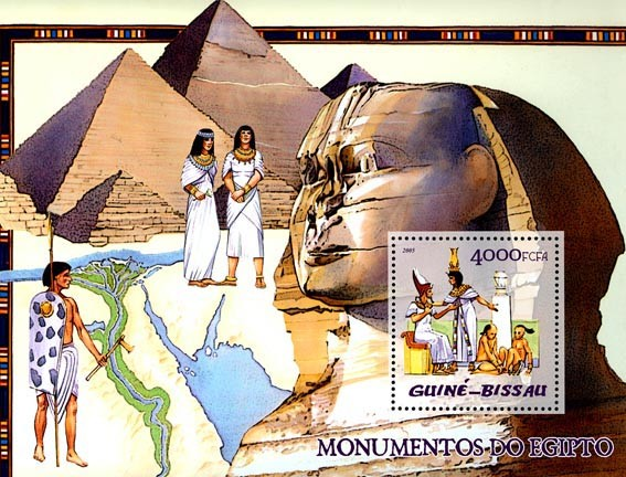 Monuments of Egypt (pyramids, etc) S/s 4000 - Issue of Guinée-Bissau postage stamps