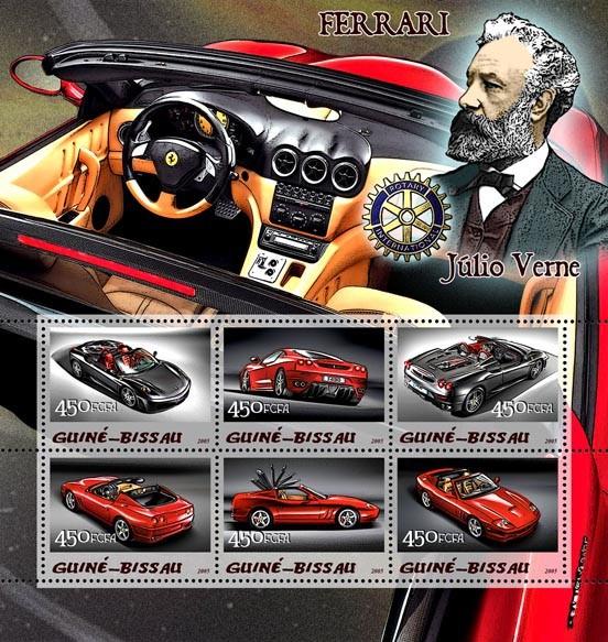 Ferrari & Jules Verne & Rotary 6v x 450 - Issue of Guinée-Bissau postage stamps