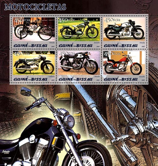 Motorcycles 6v x 450 - Issue of Guinée-Bissau postage stamps