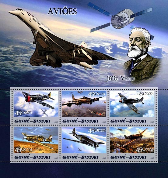 Aircraft & Jules Verne 6v x 450 - Issue of Guinée-Bissau postage stamps