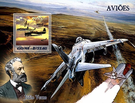 Aircraft & Jules Verne S/s 3500 - Issue of Guinée-Bissau postage stamps