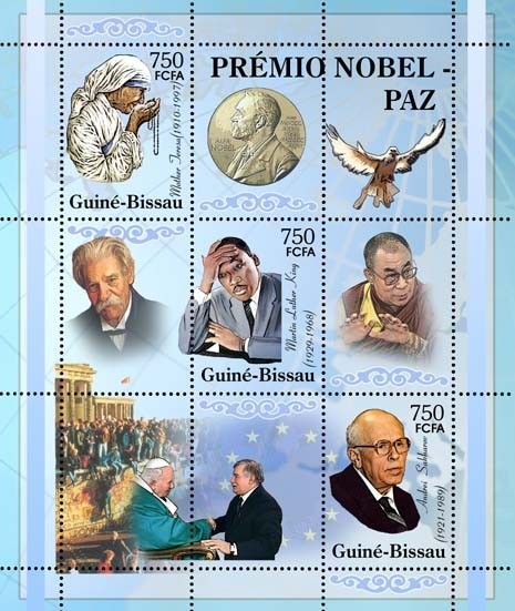 Nobel Prize Winners - Peace - SheetletMother Teresa, M. L. King, A. Sakharov, A. Schweitzer, Dalai Lama, L. Walensa & Pope John Paul II 3v x 750 - Issue of Guinée-Bissau postage stamps