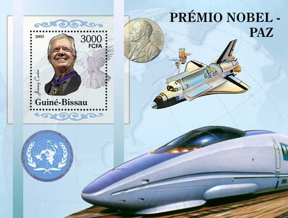 Nobel Prize Winners - Peace - Souvenir SheetJ. Carter, bullet-train?タᆵ, space, UN Peacekeeping Forces S/s 3000 - Issue of Guinée-Bissau postage stamps