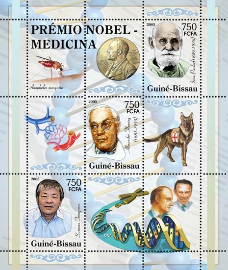 Nobel Prize Winners - Medicine - Sheetlet I. Pavlov, A. Fleming, S. Jonegawa, Red Cross 3v x 750 - Issue of Guinée-Bissau postage stamps